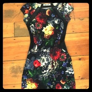 Dresses & Skirts - Floral, Black Mesh Bodycon